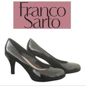 Franco Sarto black patent leather high heels sz 10